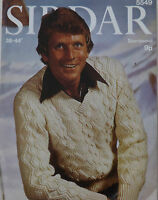 "Vintage Knitting Pattern Mens Long Sleeve Aran Cable Jumper/Sweater 38-44"" S5549"