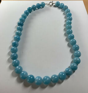 925 Silver Blue Ceruleite T Bar Necklace / 16 Inches/57 Grams