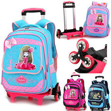 Girls Boys Roller bag Detachable School Bags 3 Wheels Trolley Backpack Rolling