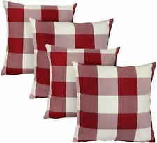 Set of 4 Farmhouse Buffalo Checkers Plaid Cotton Throw Pillow Covers Home Decor