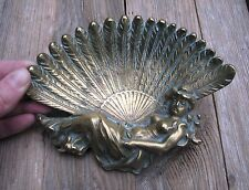 Art Deco Solid Brass Glamorous Lady Dressing Table Tray / Trinket Dish