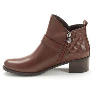 Dana Buchman Women's  Dorsa Dark Cognac Quilted Ankle Booties - Size 7