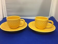 "TWO GENEVIEVE LETHU ""GRAIN DE RIZ 1984"" YELLOW CUP/SAUCER"