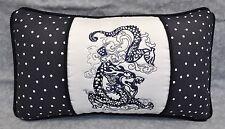 Embroidered Dragon Pillow made w Ralph Lauren Art Deco Deauville Dot Navy Blue