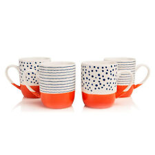Sabichi 4 Piece Mug Set Tangerine New Bone China Dishwasher Microwave Safe