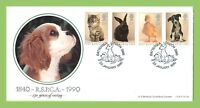 G.B. 1990 RSPCA animals set on Official Bradbury First Day Cover, Battersea