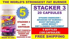 5 STACKER 3 20 CAPSULE Bottle WORLD'S STRONGEST FAT BURNER Weight Loss 100 PILLS