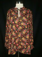 NEW BOBEAU Plus Size 2X Blouse Shirt Top Black Red Floral Ruffle Long Sleeve