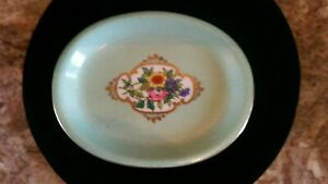 antique vintage victorian style mint green floral soap dish vanity tray V.A.