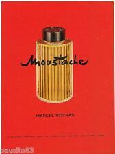 PUBLICITE ADVERTISING 105  1958  MARCEL ROCHAS eau de Cologne  MOUSTACHE