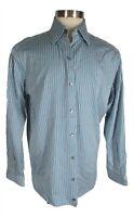 Ermenegildo Zegna Mens Blue Stripe Long Sleeve Cotton Shirt XL Italy Recent