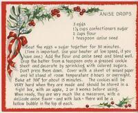VINTAGE CHRISTMAS ANISE SEED DROPS COOKIES RECIPE 1 HARK HERALD ANGELS SING CARD