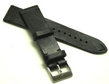 22mm Black Leather Vintage Classic Watch Band Handmade Silver Matte Buckle