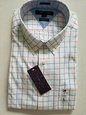 Tommy Hilfiger Mens Large White Angus Checks Classic Fit Dress Shirt NWT