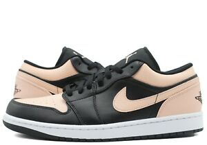 Nike Air Jordan 1 Low Crimson Tint Black White 553558-034 Mens GS New