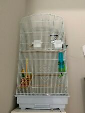 Large White Bird Cage with toys, treats, and supplies: Slightly Used Condition