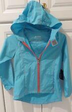 NWT JK TECH Kids Unisex Hooded Jacket Aqua and Orange Trim Zippered Small $40.00