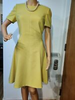 HOBBS FITTED SHEATH DRESS SIZE UK 10 US 6 YELLOW 65% POLYESTER 33% VISCOSE