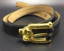 Kieselstein Cord Vintage Art Bronze Labrador Dog Buckle Black Leather Belt