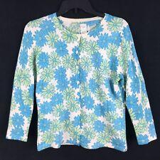 Garnet Hill Womens MED Cardigan Sweater Lightwt Blue Green Floral Merino Wool