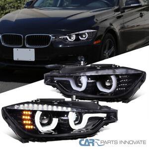 For 12-15 BMW F30 3-Series Pearl Black U-Halos Projector Headlights+LED Signal