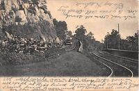 c.1906 Trolley Car Descending Palisades to 130st St. Ferry Edgewater NJ postcard