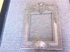 Antique 1800s French Silver Metal White Mirror/Picture Frame. NICE DESIGN!