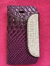 Gorgeous Purple Apple iPhone 4s 4 Diamanté Wallet case Phone Cover Protector