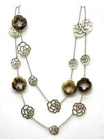 Long Open Cut Authentic Tiger Eye & Gold Tone Flower Design Necklace