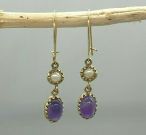 Vintage 9k 9ct yellow gold amethyst cabochon and pearl drop dangle earrings