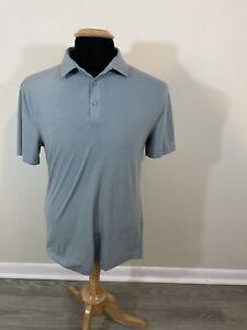 Lululemon Blue Stripe Tech Polo Shirt Men's Medium M Short Sleeve