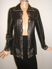 ESCADA 34 4 Sexy Leather Eyelet Cut-out Black Beige Womens Designer Jacket Coat