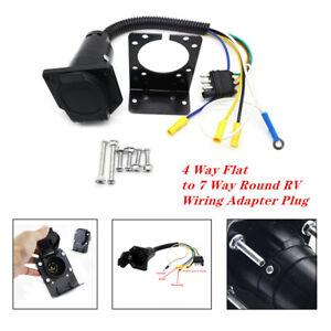 Plug 4-Way Flat to 7 Way Round RV Wiring Adapter Car Trailer Hitch With Bracket