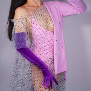 Velvet Gloves Opera 60cm Long Stretchy Touchscreen Sensitive Purple Violet Lilac