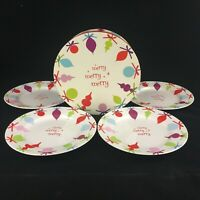 Set of 4 Dessert Plates by Rosanna Christmas Merry Merry Merry Collector Box