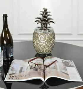 Silver Black Crystal Large Pineapple Canister  Bowl Urn Ornament Modern Box