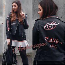 Zara Faux Cuir Noir Veste Texte Imprimé Rouge Taille M UK 10