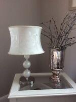 Tischlampe Weiss Silber Perlen Edel Lampe