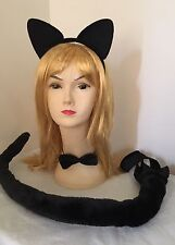 Black Cat Costume Set Kit Ears Headband Bow Tie With Long Tail Costume Dress Up