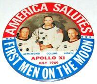 1969 Apollo 11 BUZZ ALDRIN NEIL ARMSTRONG COLLINS NASA button pin space moon