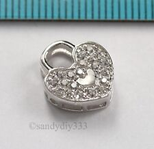 1x RHODIUM PLATED STERLING SILVER CZ HEART DANGLE CHARM 11.2mm #2898