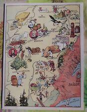Carte de France Illustrées d'après Pinchon Arbois vin Jaune St Claude la pipe