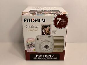 Fujifilm Instax Mini 9 Instant Film Camera 7 Piece Bundle Smokey White, NEW!