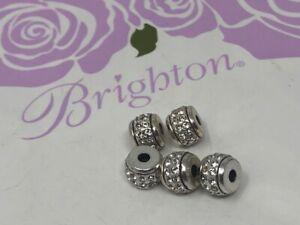 5 BRIGHTON  MINI stone  stopper   BEAD  nwot  crystal/silver