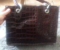 100% Leather Moc Croc Bag Made In Italy Grab Bag Clutch 😍❤️ Handbag