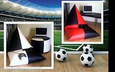 ZIPPY - LARGE FAUX LEATHER FOOTBALL BEANBAG ARMCHAIR - BEAN BAG COMPUTER CHAIR