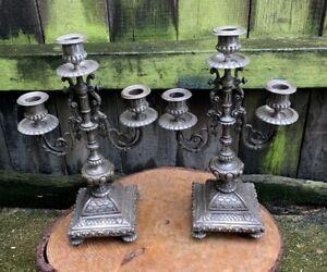 ANTIQUE Vintage FRENCH SILVERED METAL CANDELABRA feet ornate mantel sticks shelf