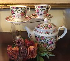 Olde Chintz By Sadler English Tea Set Teapot Tea Cups & Saucers