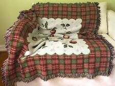 Country Cottage Woven Knit Fringed Afghan Throw/Lap Warmer APPLES/ PLAID~ COTTON