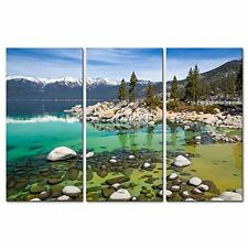 Canvas Print Wall Art Painting For Home Decor Sandy Lake Tahoe Beach With Crysta